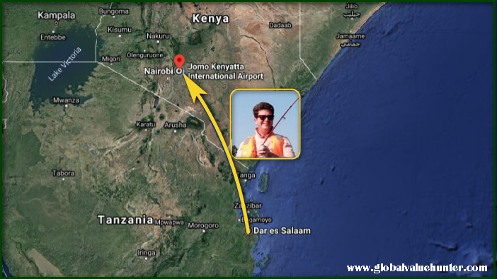 Dar es Salaam to Nairobi map