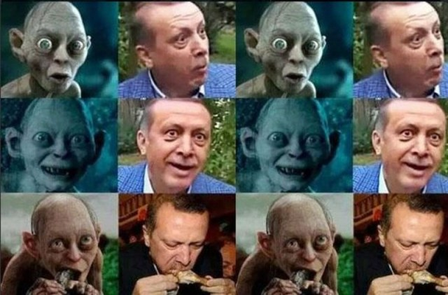 Gollum and Erdogan. Widely shared.