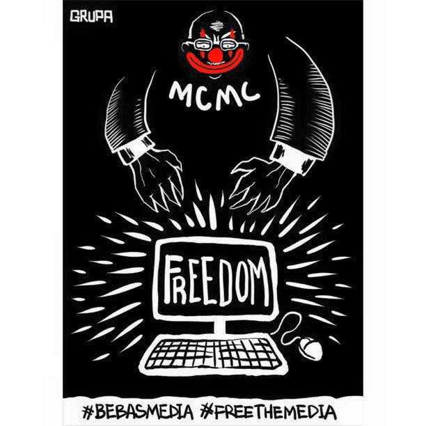 Activists are calling for the review of the law passed in 1998 which gives broad powers to the Malaysian Communications And Multimedia Commission (MCMC) to censor and block news portals. Image from Grupa