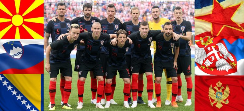 """A collage of Croatian national team with the flags of other ex-Yu countries under the title """"Here's why all former Yugoslavia should support Croatia"""" with a post listing dozens of things that connect these countries. Image by Stefan Simić, from Belgrade, used with permission."""