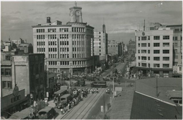View of the Ginza District in Tokyo in 1947