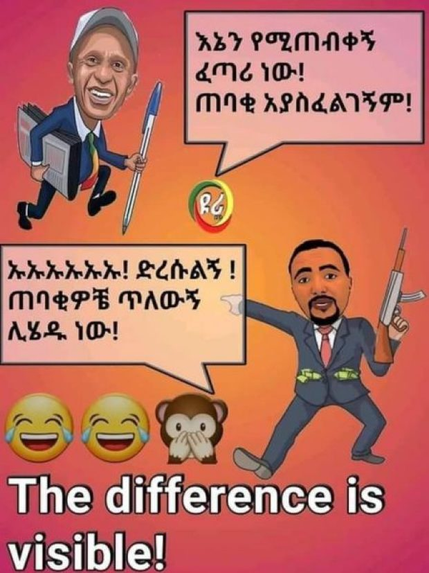 Sur ce mème pro-Eskinder, Jawar tient un fusil et a les poches pleines de billets tandis qu'Eskinder tient un stylo et un journal.