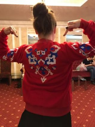 The hoodie presented by designer Tatarcha Casual in one of the Tatar festivals, archive Elmira Lyapina, used with permission