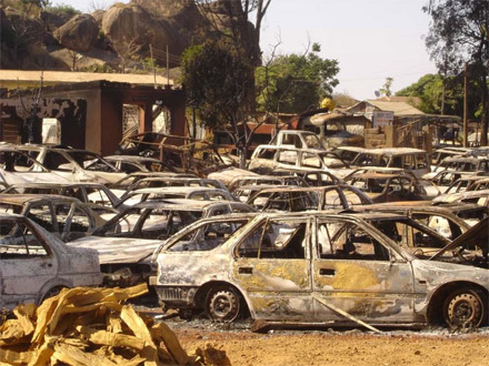 Burned out cars in Jos