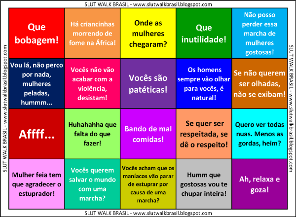 Bingo #Slutwalk: Make your bets! Examples of verbal rudeness towards women. Image by @slutwalkbr shared on Twitpic by @umadeboravieira