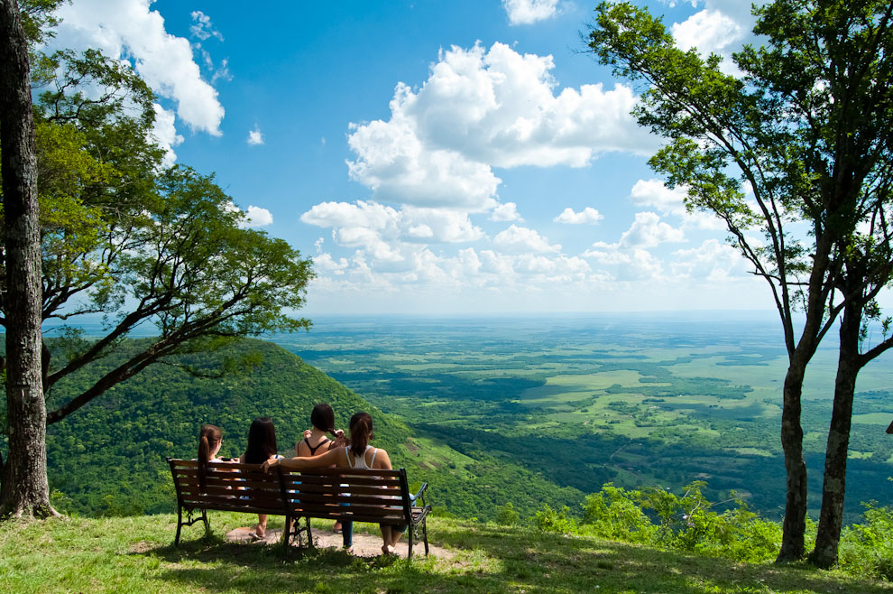 Four friends enjoy the view from the top of Cerro Akatí in the Guairá department in Paraguay. Photo by Elton Núñez