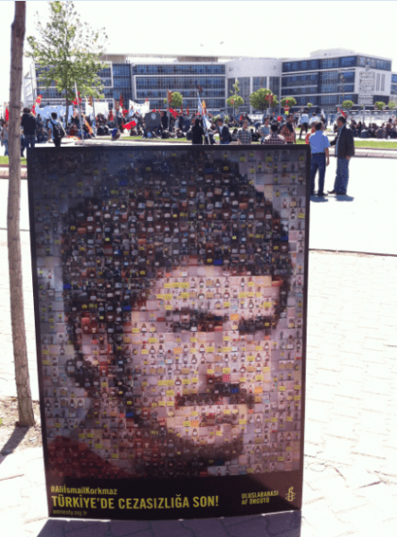 Amnesty International shared this photograph to draw attention to Ali İsmail Korkmaz's Trial