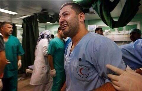 """""""The moment you see Doctors crying , Is the moment when you realize all red lines have been crossed"""" @DrBasselAbuward"""