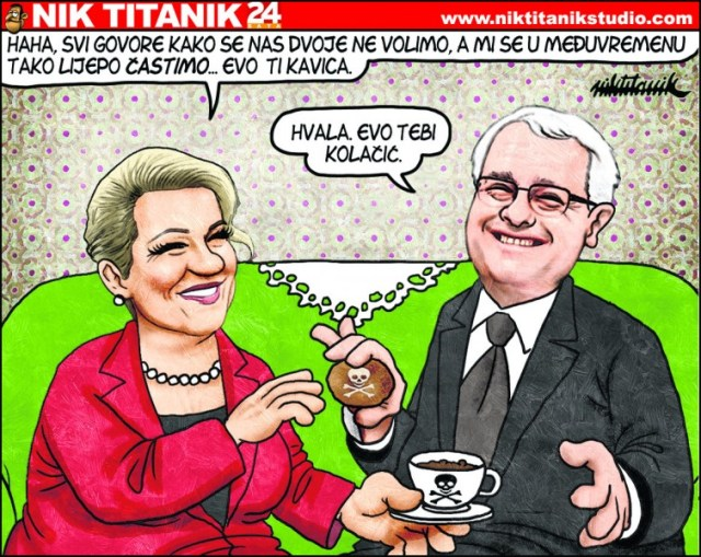 "Kolinda Grabar Kitarović: ""Hahaha, everybody is saying that we don't get along, and in the meantime, we're treating ourselves.""  Ivo Jospović's reply: ""Thank you! Here, have a cookie!"" Cartoon by Nik Titanik, republished with permission."