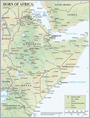 Horn of Africa map from the UN. Released to public domain.