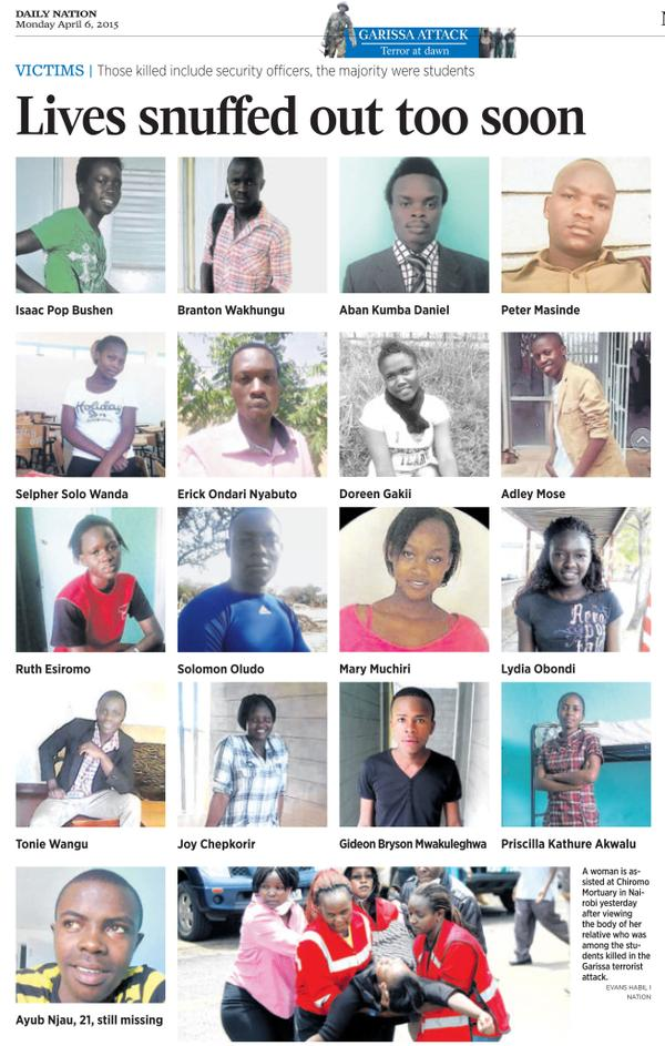 Photos of Garissa shooting victims being shared under the 147notjustanumber hashtag on Twitter.