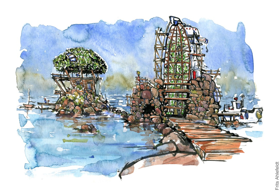 Drawing of an ocean tree house for extreme sustainability and green living