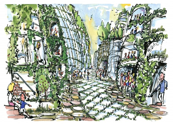Eco city drawing by Frits Ahlefeldt