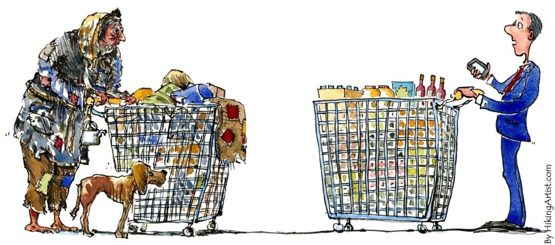 homeless man meet rich man with shopping trolley