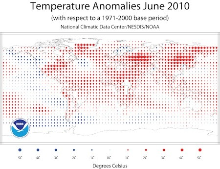 NOAA: Warmest June on Record – 2010 on Track for Hottest Year