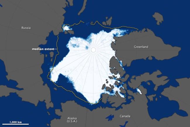 Graphic illustration of arctic sea ice loss
