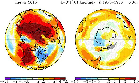 Warmest March on record in the Northern Hemisphere