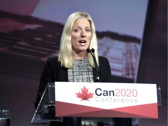 Minister of Health and Environment Catherine Mckenna speaks at a press event
