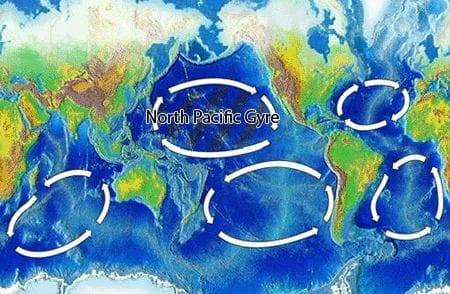Ocean gyres world map, Wikimedia Commons