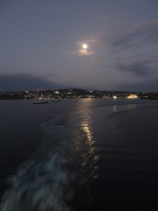 Thanks Katie for this night shot (no tripod, no SLR, auto everything snapshot on a moving ship) sailing out of Port Vila!