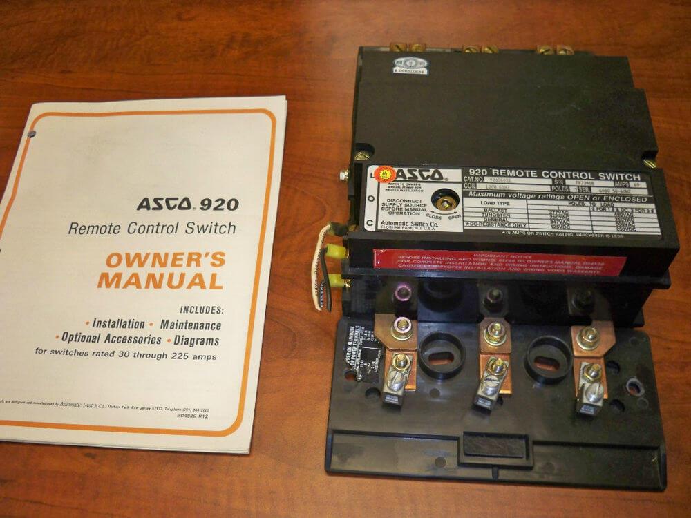 Asco 920 Lighting Contactor For Feeder Circuits