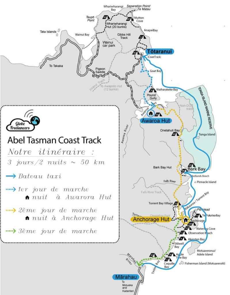 Itinéraire de randonnée pour le parc national Abel Tasman en Nouvelle Zélande sur l'île du Sud