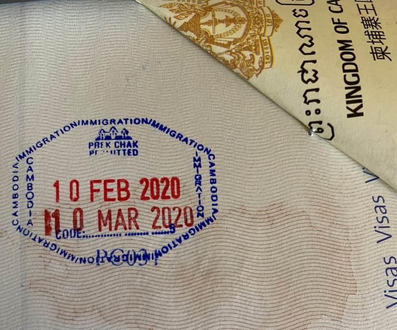 Visa à l'arrivée au Cambodge valable 30 jours
