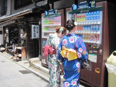 It was REALLY hot, so we felt for all the tourists in the their hot kimonos. Luckily, there are random vending machines everywhere in Japan!