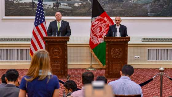 U.S. Secretary of State Michael R. Pompeo participates in a press conference with Afghanistan President Ashraf Ghani in Kabul, Afghanistan on July 9, 2018. (Image Credit: U.S. Department of State)