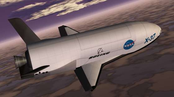 An artist's conception of the X-37 Advanced Technology Demonstrator as it glides to a landing on earth. (Image Credit: NASA)