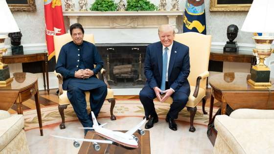 President Donald J. Trump and Prime Minister Imran Khan of the Islamic Republic of Pakistan participate in a bilateral meeting Monday, July 22, 2019, in the Oval Office of the White House. (Image Credit: White House/Shealah Craighead)