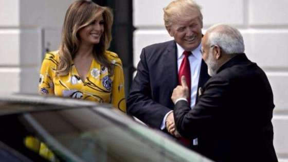 President Donald J. Trump and First Lady Melania Trump greet Indian Prime Minister Narendra Modi at the White House on June 27, 2017. (Image Credit: White House)
