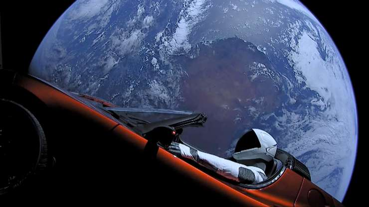 elon musk tesla roadster sun space