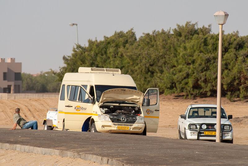 Afrique australe -Namibie, panne de moteur juste à l'arrivée sur la côte atlantiqueSwakopmund