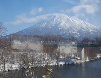 Mt Yotei from the Train