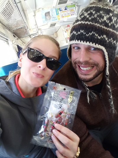 Trying our first train snack