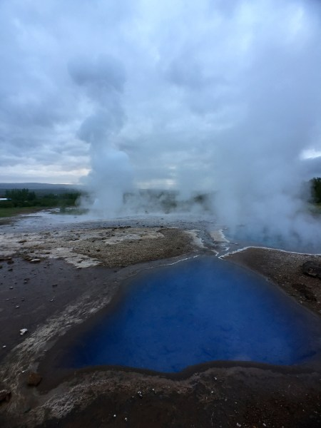 Bubbling water and steam vents, Geysir, Iceland
