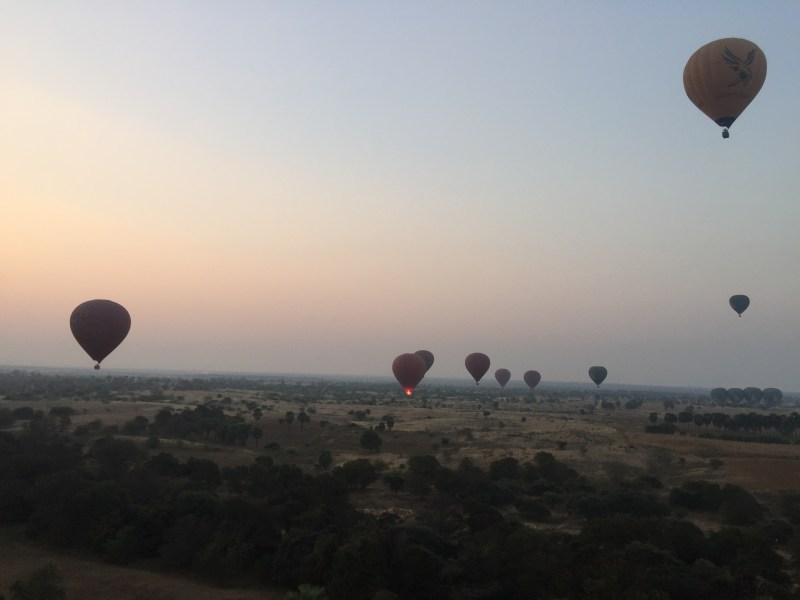 Hot air balloons in the air, Bagan, Myanmar