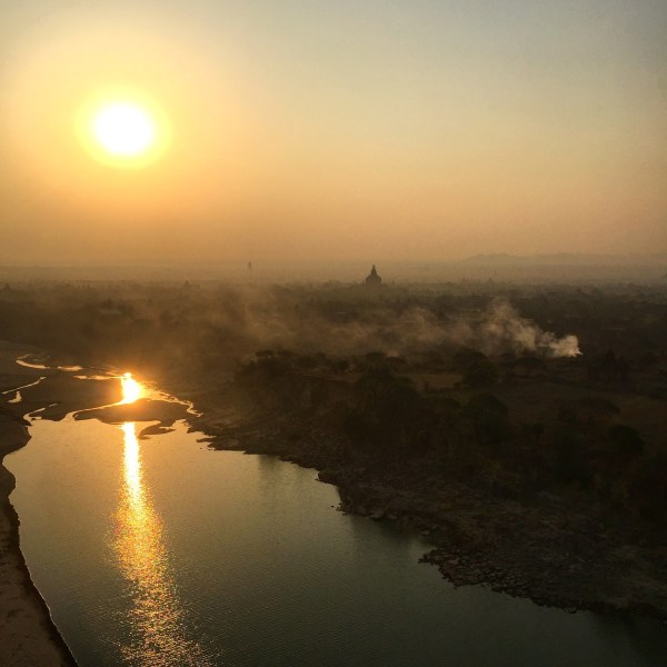 Sun over the Irrawaddy River, Bagan, Myanmar