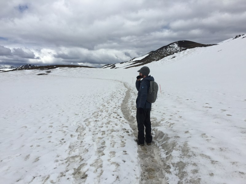 Me in snowfield, Askja, Highlands, Iceland