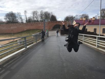 Jumping for joy at the Kremlin