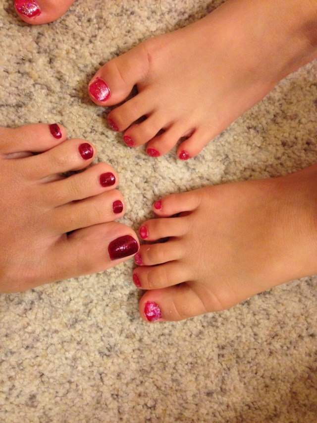 Our toes are ready for Christmas too! :)