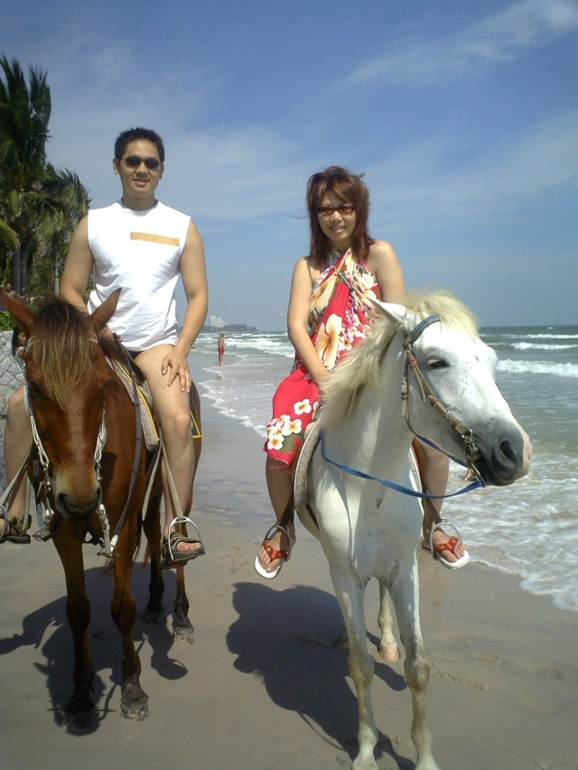 Horse riding on the beach in Thailand, 2003