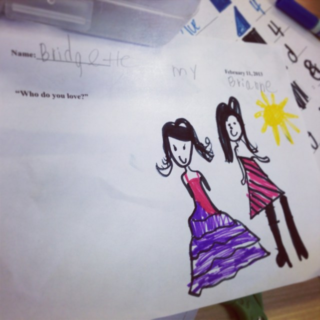 """In class, each student had to write and draw their answer to the question """"Who do you love?"""""""