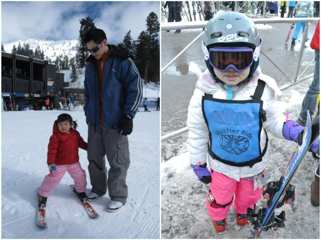 Left: Bridgette in her skis for the first time, at 2 years old | Right: Bridgette ready for her first ski class, at 5 years old