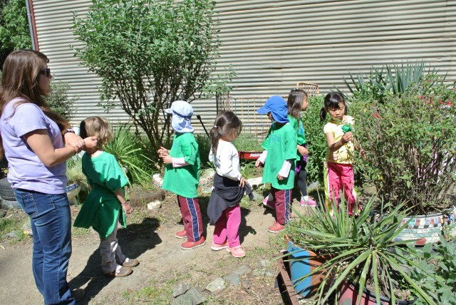 We went through the recycled garden, where the kids found it hilarious that toilets were used as planters