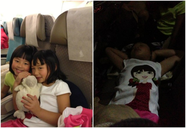 Lucky for the girls, they still get to sleep like they're in their own beds while on the plane....