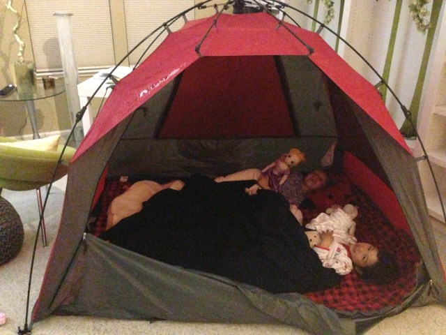 Cozy sleepovers have migrated from the bedroom to the living room tent. Our house is getting smaller by the day.... :)