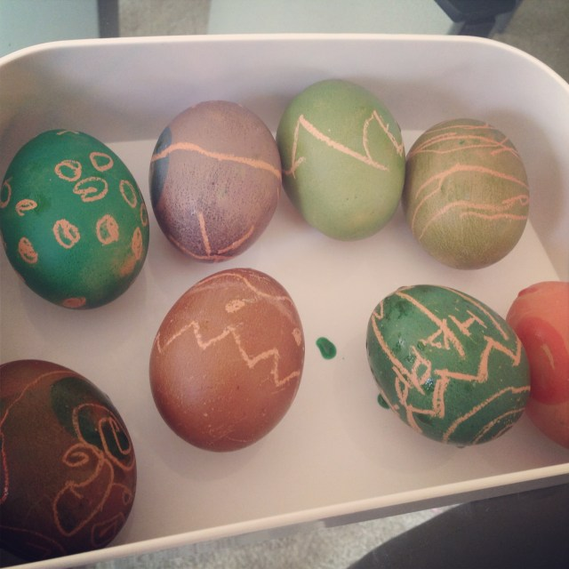 We used brown eggs this time, so the colors came out pretty muted