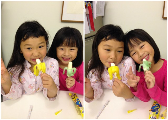 Eating their favorite popsicle together